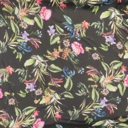 Chiffon i viskose i sort med blade og blomster-20