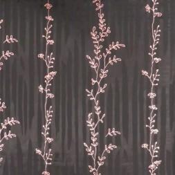 Chiffon i viskose i sort med rosa blade-20