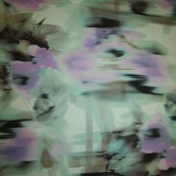 Rest Bomuldssatin m/stræk, blomstret mint/lyselilla 47 cm.-20