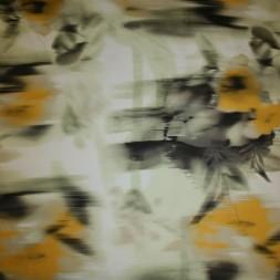 Bomuldssatin m/stræk, blomstret lysegrøn/gul-20
