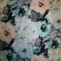 Rest Cowboy m/stræk and blomster, lys turkis/laks/sort 100 cm. med fejl-20
