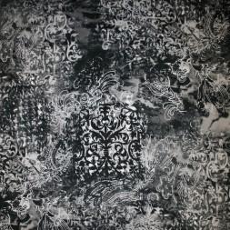 Bomuld m/stræk og mønster, sort/grå-20