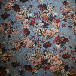 Cowboy med stræk digital print blomstret denim-blå rosa råhvid-20