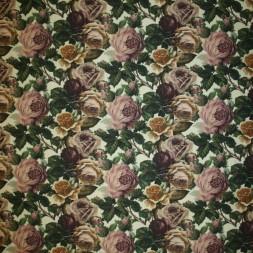 Stof i denim med digitalt print med roser