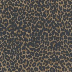 Cowboy twill-vævet med stræk i leopard-print i brun og sort-20