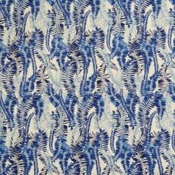 Bomuldssatin med stræk og bladranker i hvid og blå-20