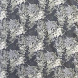 Bomuld med stræk i mørkeblå med blomster i støvet grøn og sand-20