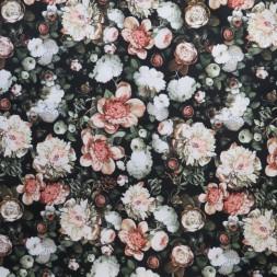 Cowboy med stræk digital print med blomster i sort rosa pudder-20