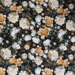 Cowboy med stræk digital print med blomster i sort, lys støvet orange, lysegrøn-20