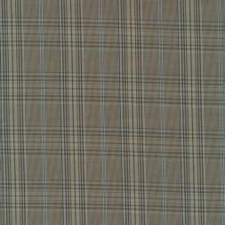 Dunlærred / Poplin ternet i lysebrun beige lyseblå-20
