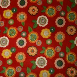 Fleece med blomster i rød-20