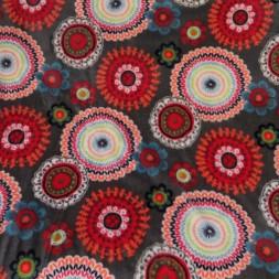 Fleece med blomster og cirkler i grå-20