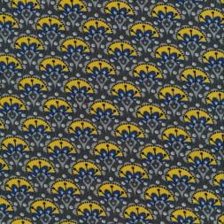 Babyfløjl m/blomster i grå-brun gul blå-20