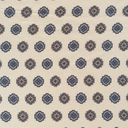 Viskose foer med mønster i cremegrå-blå og beige-20