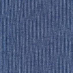 Hør/Bomuld med smalle striber i klar blå og denim.-20