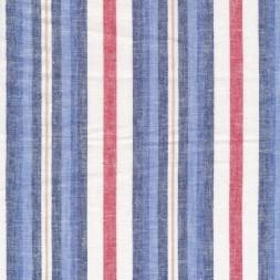 Stribet Hør/Bomuld i blå, rød og hvid-20
