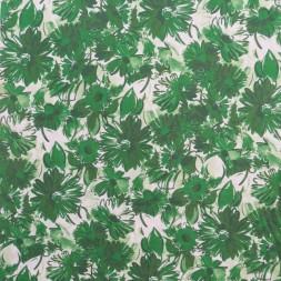 Let viskose/hør med blomster i hvid og grøn-20