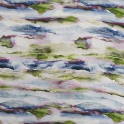 Hør/Viskose i batik digitalt print i hvid blå oliven cerisse-20