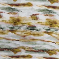 Hør/Viskose i batik digitalt print i offwhite flaskegrøn carry rust-20