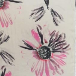 Hør/Bomuld i lys khaki med stor blomst-20