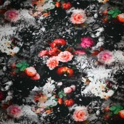 Let isoli m/stræk digital print med smukke blomster-20