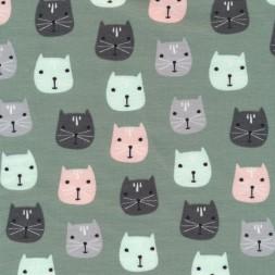 Isoli m/stræk digital print støvet grøn med katte hoveder-20