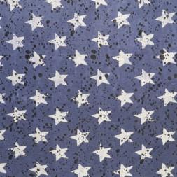 Let isoli strik med stjerner og prikker i denim og lysegrå-20