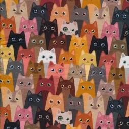 Isoli m/stræk digital print med katte i rosa grå brun-20