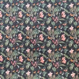 Isoli m/stræk digital print med blomster i sort, pudder-rosa og støvet grøn-20