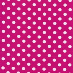 Bomuld/lycra økotex med prikker i pink og hvid-20
