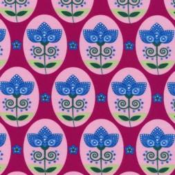 Bomuld/lycra økotex m/oval/blomst, mørk pink/blå/lyserød-20