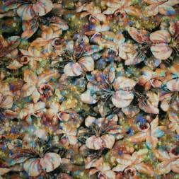 Bomuld/lycra økotex m/digitalt tryk, blomst Lilje laks/oliven-20