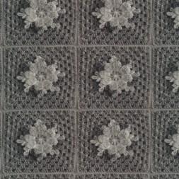 Bomuld/lycra økotex m/digitalt tryk, hæklet lap m/blomst, grå-20