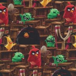 Bomuld-lycra økotex stof med digitalt tryk, m Angry Birds, brun-20