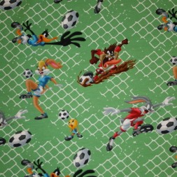 Bomuld/elasthan økotex m/digitalprint Snurre Snup/fodbold, grøn-20