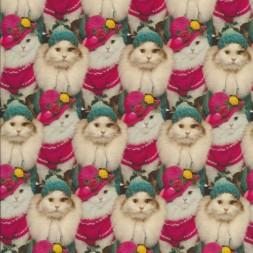 Afklip Bomuld/lycra økotex m/digitalt tryk, katte m/huer 40x60 cm-20
