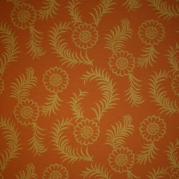 Bomuld/lycra økotex m/blomst/palmeblad, brændt orange/carry-20
