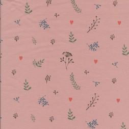 Bomuld/elasthan økotex lys rosa med blomster skærm-20