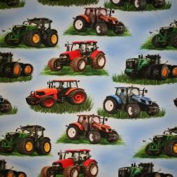 Bomuld-lycra økotex digitalt tryk, med traktor, lyseblå-20
