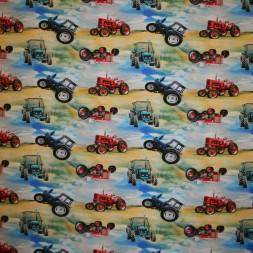 Bomuld-lycra økotex med digitalt tryk, m/traktor, gul rød blå-20