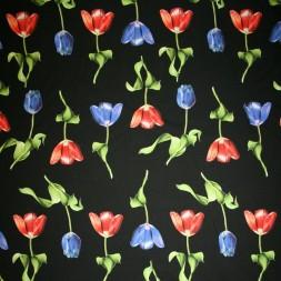 Bomuld/lycra økotex m/digitalt tryk, sort med tulipaner-20