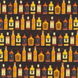 Bomuld/lycra økotex m/digitalt tryk, m/flasker mørk brun orange gul-20