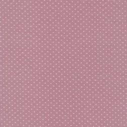 Bomuld lycra økotex med lille prik, rosa hvid-20