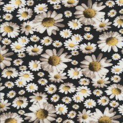 Bomuld/lycra økotex med digitalt tryk, Marguerit sort-hvid-lys gul-20