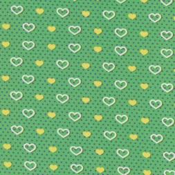 Bomuldsjersey GOTS semi-digital grøn med hjerter-20
