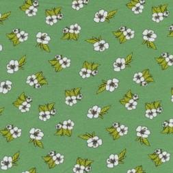 Bomuldsjersey GOTS semi-digital støvet grøn med blomster-20