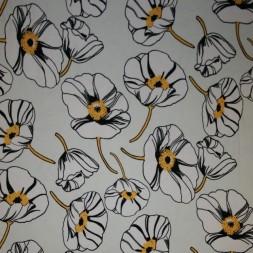 Bomuld/lycra økotex digitalt tryk med valmuer knækket hvid gul-20