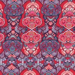 Bomulds jersey økotex mønstret rød marine aqua-20