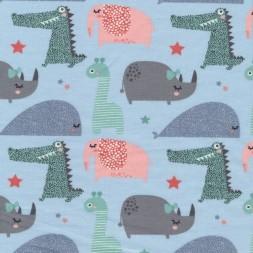Bomuldsjersey økotex lyseblå med elefant giraf krokodille-20
