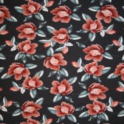 Bomulds jersey økotex digitalt print støvet mørkeblå med gammel rosa blomster-20